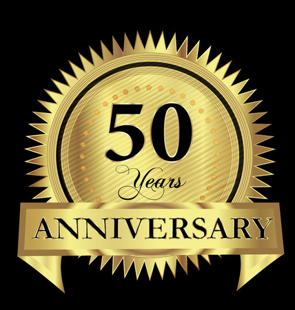 50 years anniversary gold seal vector design