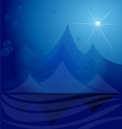 Blue mountains vector template 일러스트