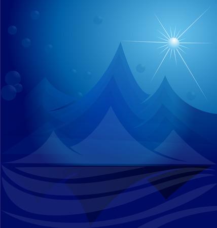 Blue mountains vector template Ilustração