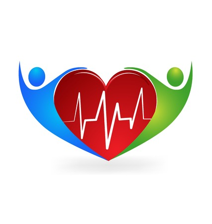 Medical logo caring a heart symbol vector icon  イラスト・ベクター素材