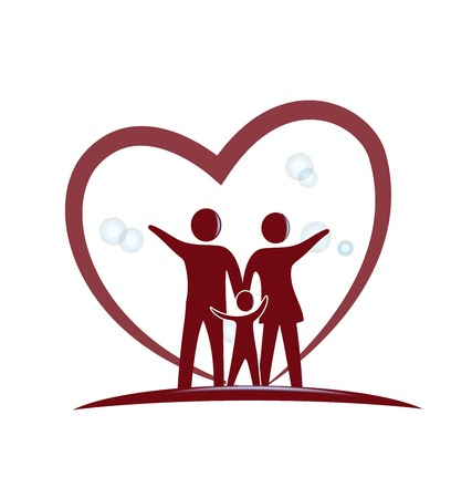 Family with red heart design icon