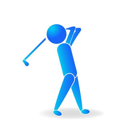 Golf man player logo blue vector design Illustration