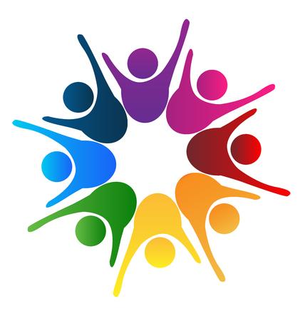 Success teamwork happy people logo vector design