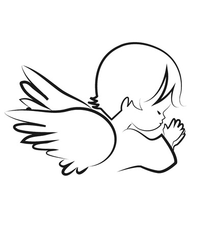 Praying angel child, believe icon vector