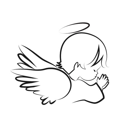 Praying angel child, believe icon vector symbol Çizim