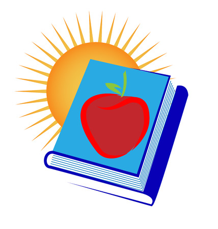 Apple with stack of books, icon illustration