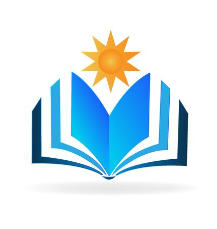 Reading a book under the sun, icon vector