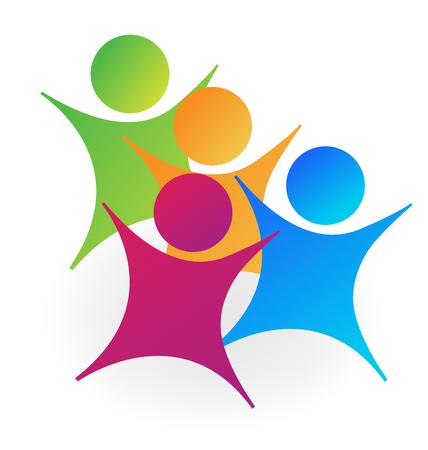 Cheerful playful children school group, icon Illustration