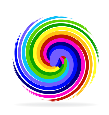 Multi-colored swirly circle icon