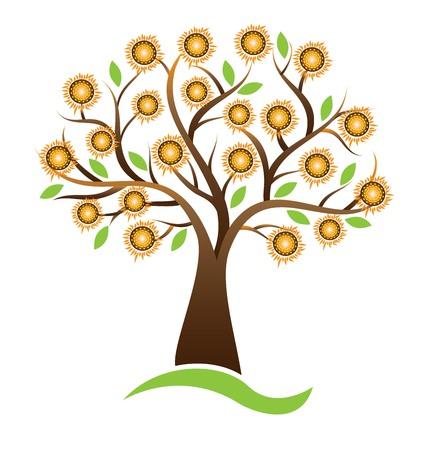 Vector tree sunflower logo design