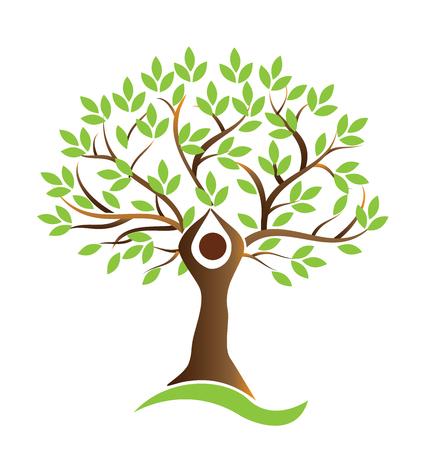 Tree green teamwork figures logo vector
