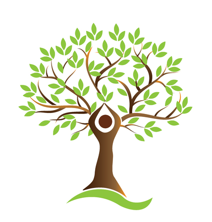 Tree green teamwork figures logo vector