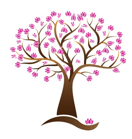 Cherry lotus blossom tree vector logo image