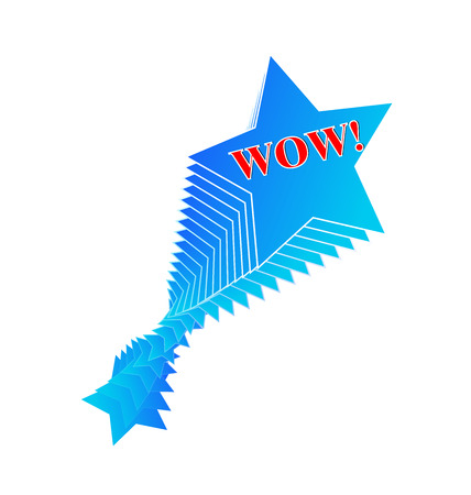 Wow text and star shape vector icon