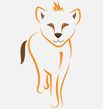 Baby lion line art vector symbol