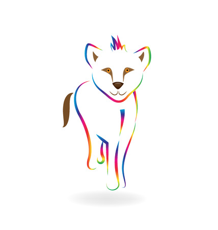 Rainbow baby lion line art vector symbol Иллюстрация