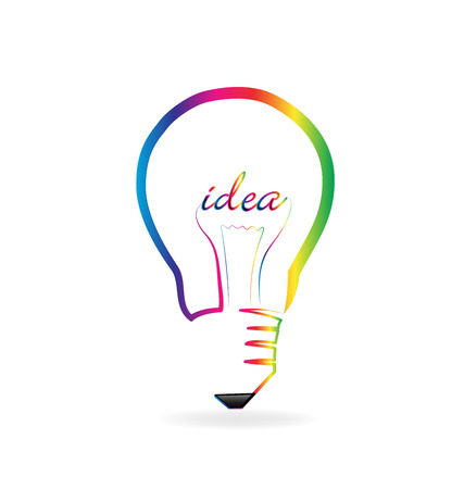 Light bulb creativity spark, multi-colored vector icon