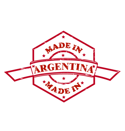 Made in Argentina red seal icon, approval Ilustracja