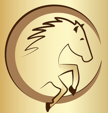 Gold horse symbol background