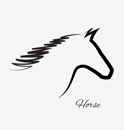 Horse silhouette isolated portrait icon