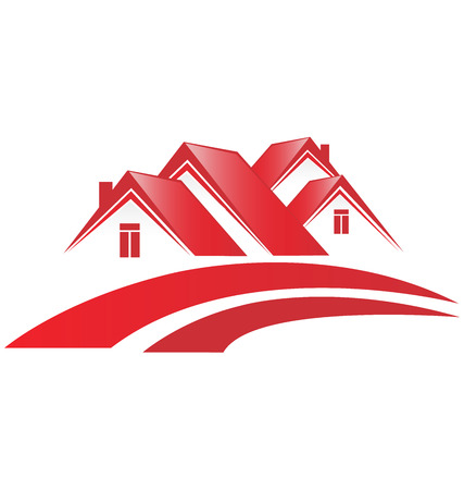 Red house community vector Illustration
