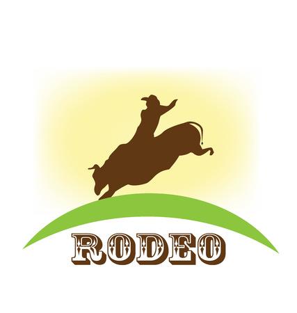 Rodeo show, bull riding, vector symbol