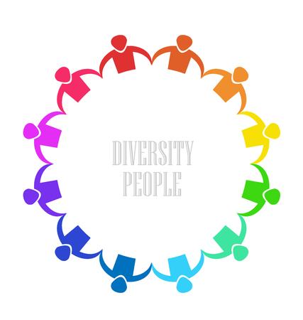 Teamwork diverse group of people vector Illustration