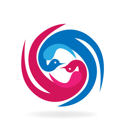 Birds in love together, swirly vector symbol icon