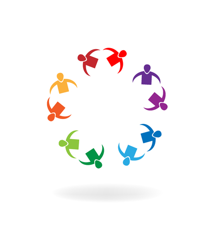 Group of couples meeting each other, vector icon
