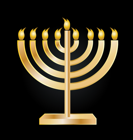 Hanukkah gold menorah icon vector