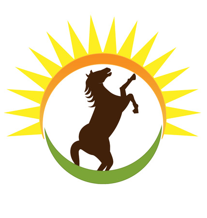 Horse in the sun and field, vector icon Illustration