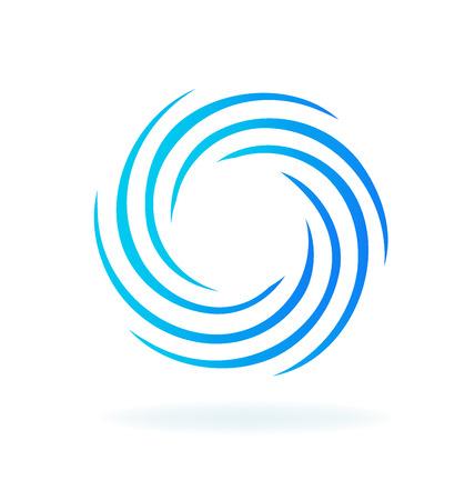Blue futuristic swirly circular wave vector Ilustracja