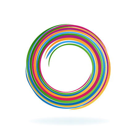 Multi-colored abstract spiral circle, vector Vectores