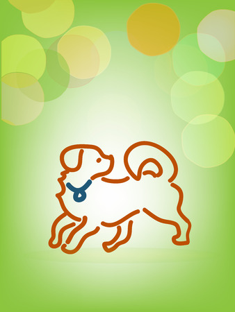 Playful dog, line art, and bokeh vector