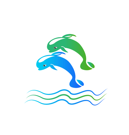 Synchronized jumping dolphins vector