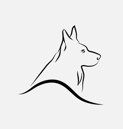 German Shepherd dog, line art vector Vettoriali