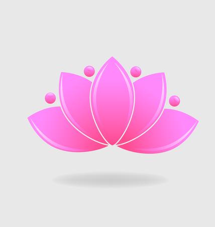 Pink lotus plant vector symbol