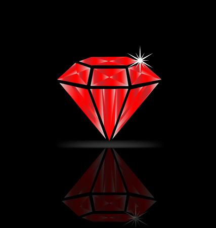 Ruby diamond isolated vector Иллюстрация