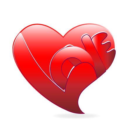 Red love heart symbol vector
