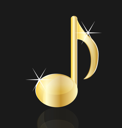 Golden musical note isolated vector