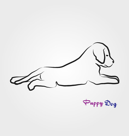 Puppy laying down, line art vector icon 스톡 콘텐츠 - 98684389