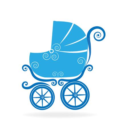 Blue stroller icon vector illustration. Illustration