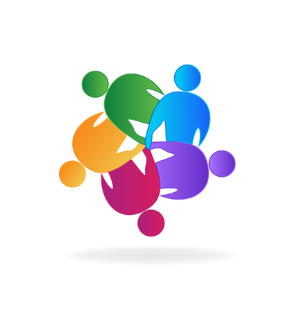 Teamwork people support group, vector logo