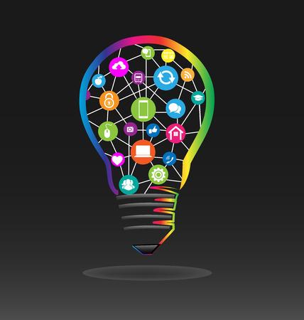 Bulb with social media icon vector illustration design.