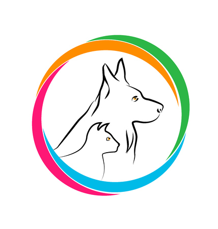 German Shepherd Dog and Cat, vector icon illustration design.