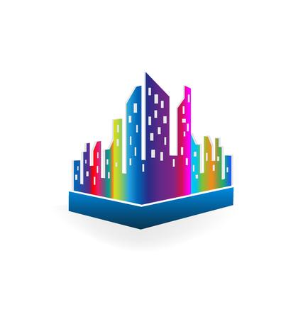Downtown city buildings, multi-colored vector illustration design.