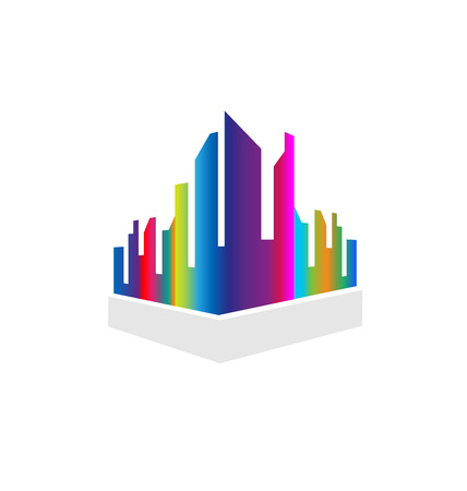 Downtown city buildings, multi-colored vector illustration design.