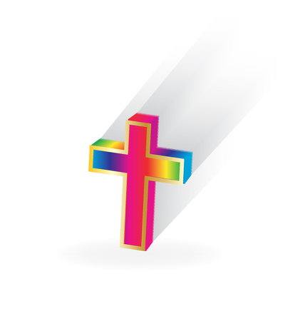 Multi-colored religion cross vector illustration design.
