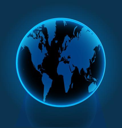 파란 세계 지구, 비즈니스 네트워크 벡터 일러스트 레이 션 디자인.