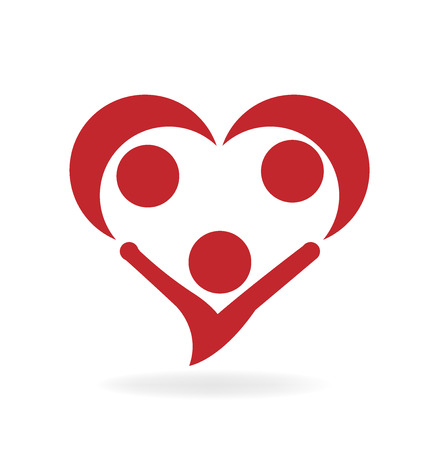 Heart shape, family icon, valentines vector illustration design.